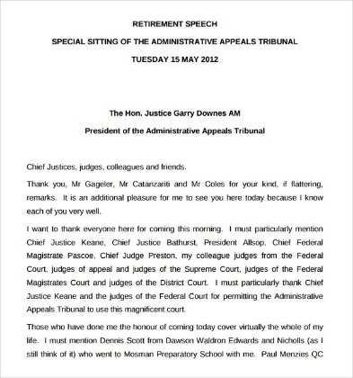 Retirement Farewell Speech Sample